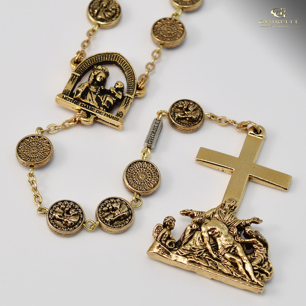 Notre Dame de Paris gold plated Rosary - Ghirelli Rosaries - Rosary Beads  For Sale ... 412f96bf2