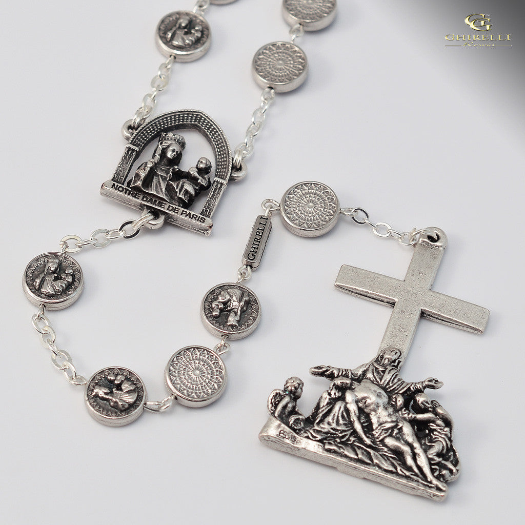 Official Notre Dame de Paris Cathedral Rosary with Rose Window Beads designed exclusively by Ghirelli