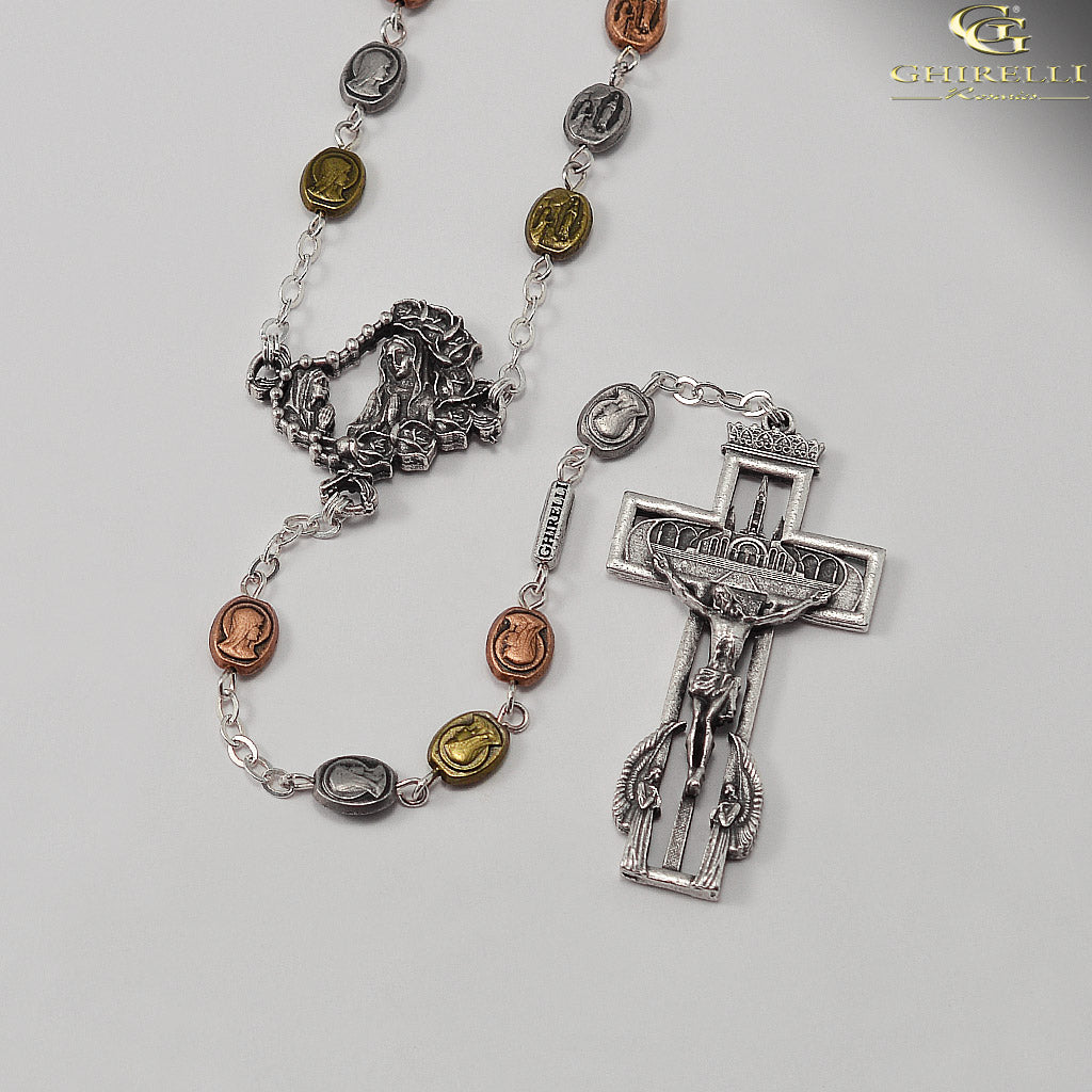 Our Lady of Lourdes 160th Anniversary Rosary with Medals by Ghirelli