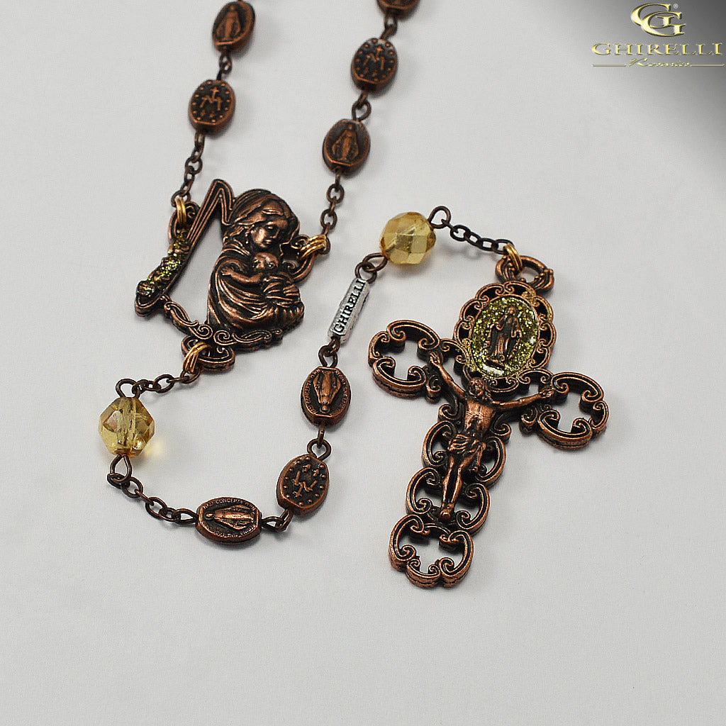 Miraculous Medal Rosary in Antique Copper by Ghirelli
