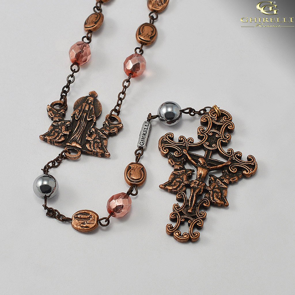 Our Lady of Lourdes Rosary with Genuine Hematite Beads by Ghirelli