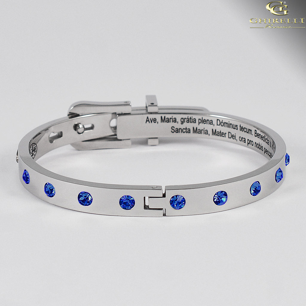 SECRETUM® Stainless Steel Bracelet with Blue Swarovski crystals by Ghirelli