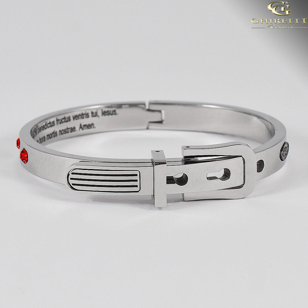 SECRETUM® Stainless Steel Bracelet with Red Swarovski crystals by Ghirelli