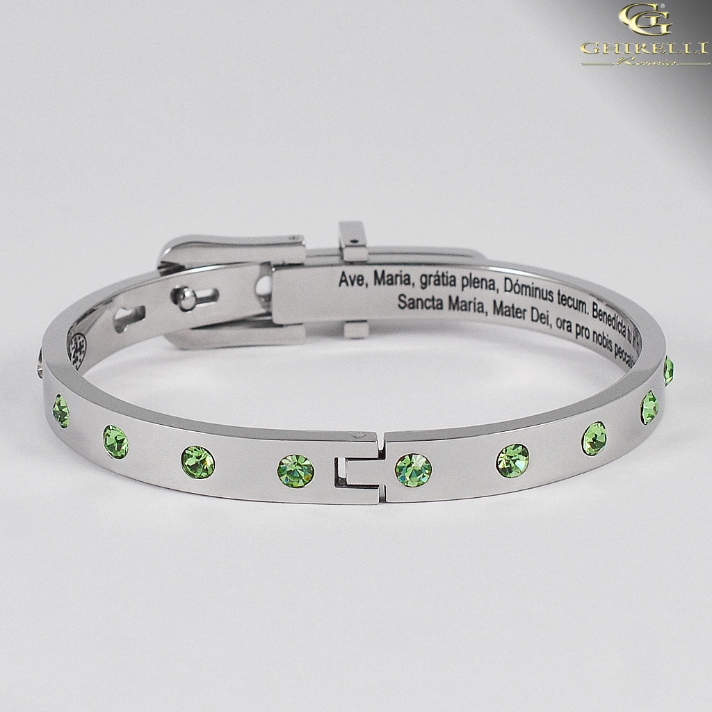 SECRETUM® Stainless Steel Bracelet with Green Swarovski crystals by Ghirelli