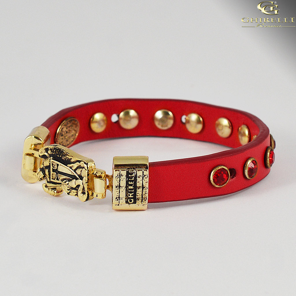 FIDES™ Genuine Italian Leather Saint Michael Rosary Bracelet in red by Ghirelli
