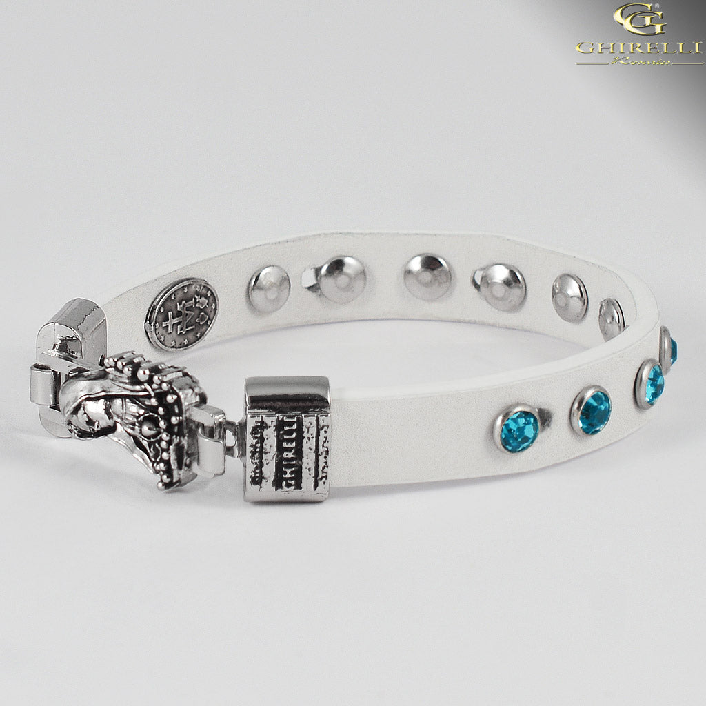 FIDES™ Genuine Italian Leather Our Lady of Fatima Rosary Bracelet in white by Ghirelli