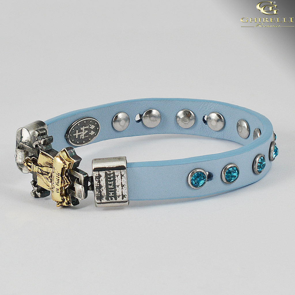 FIDES™ Genuine Italian Leather Spiritual Warfare Rosary Bracelet in blue by Ghirelli