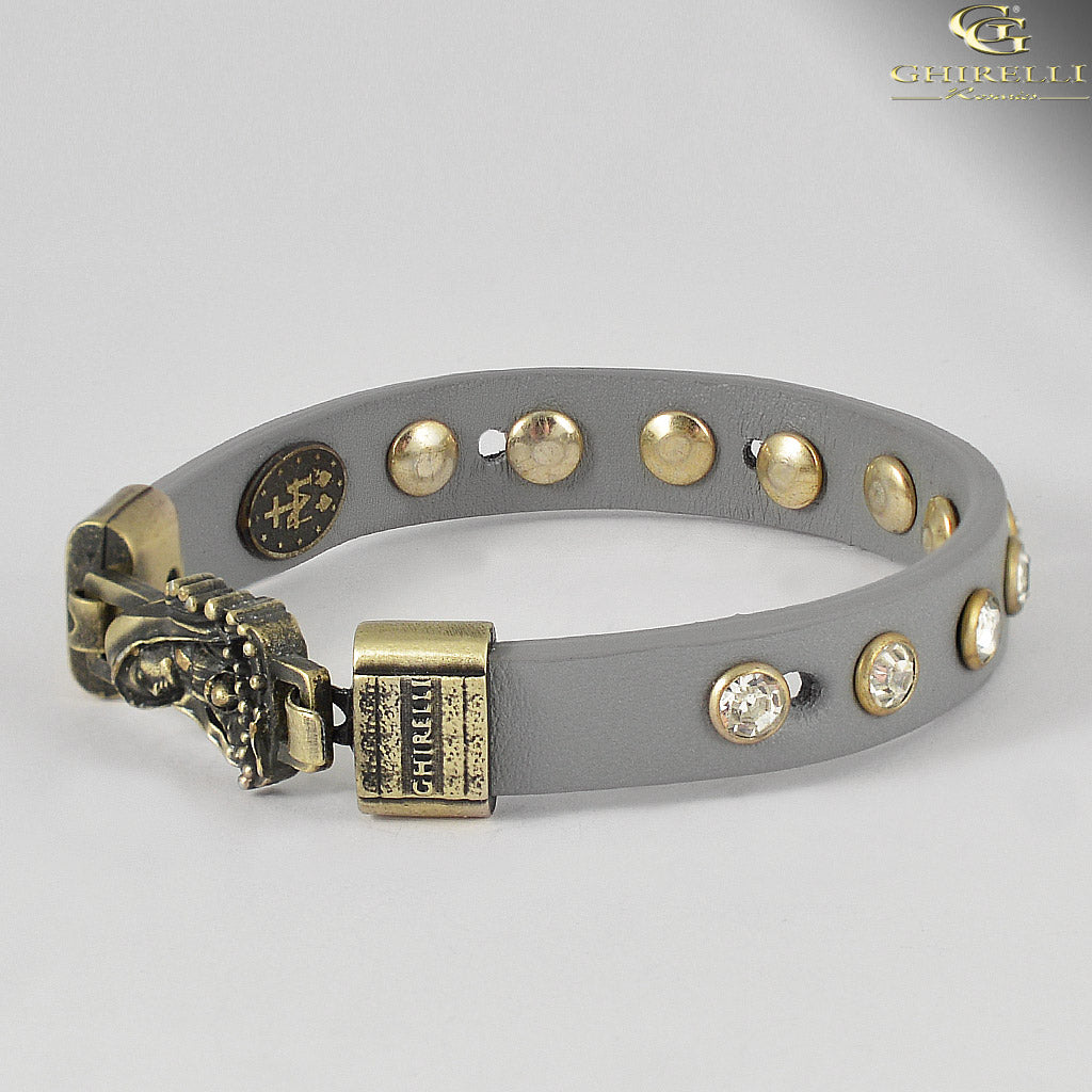 FIDES™ Genuine Italian Leather Our Lady of Fatima Rosary Bracelet in grey leather by Ghirelli
