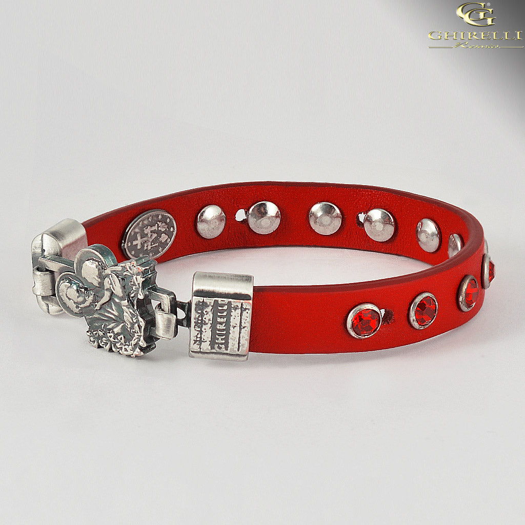 FIDES™ Genuine Italian Leather Saint Joseph Rosary Bracelet in red by Ghirelli