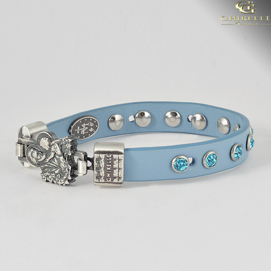 FIDES™ Genuine Italian Leather Saint Joseph Rosary Bracelet in blue by Ghirelli