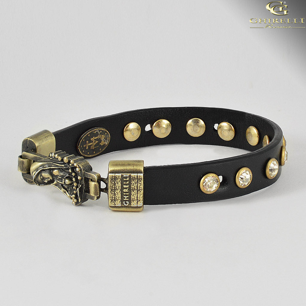FIDES™ Genuine Italian Leather Our Lady of Fatima Rosary Bracelet in black leather by Ghirelli