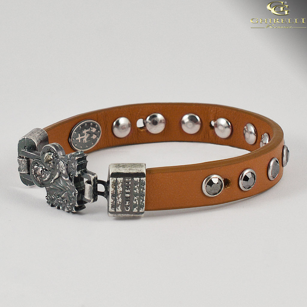 FIDES™ Genuine Italian Leather Saint Joseph Rosary Bracelet in tan by Ghirelli