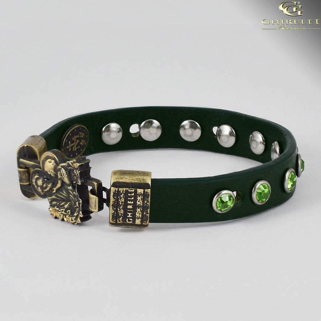 FIDES™ Genuine Italian Leather Saint Joseph Rosary Bracelet in black green by Ghirelli
