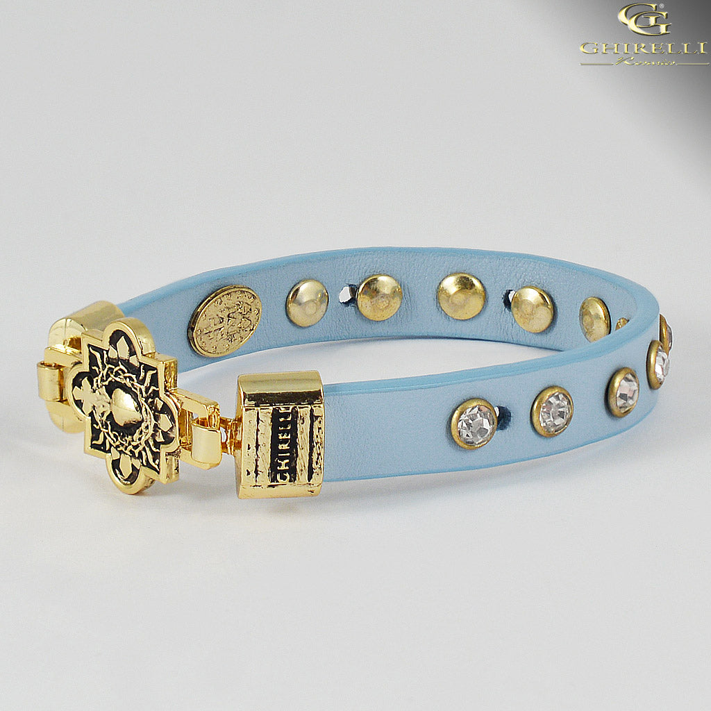 FIDES™ Genuine Italian Leather Sacred Heart Rosary Bracelet in blue by Ghirelli