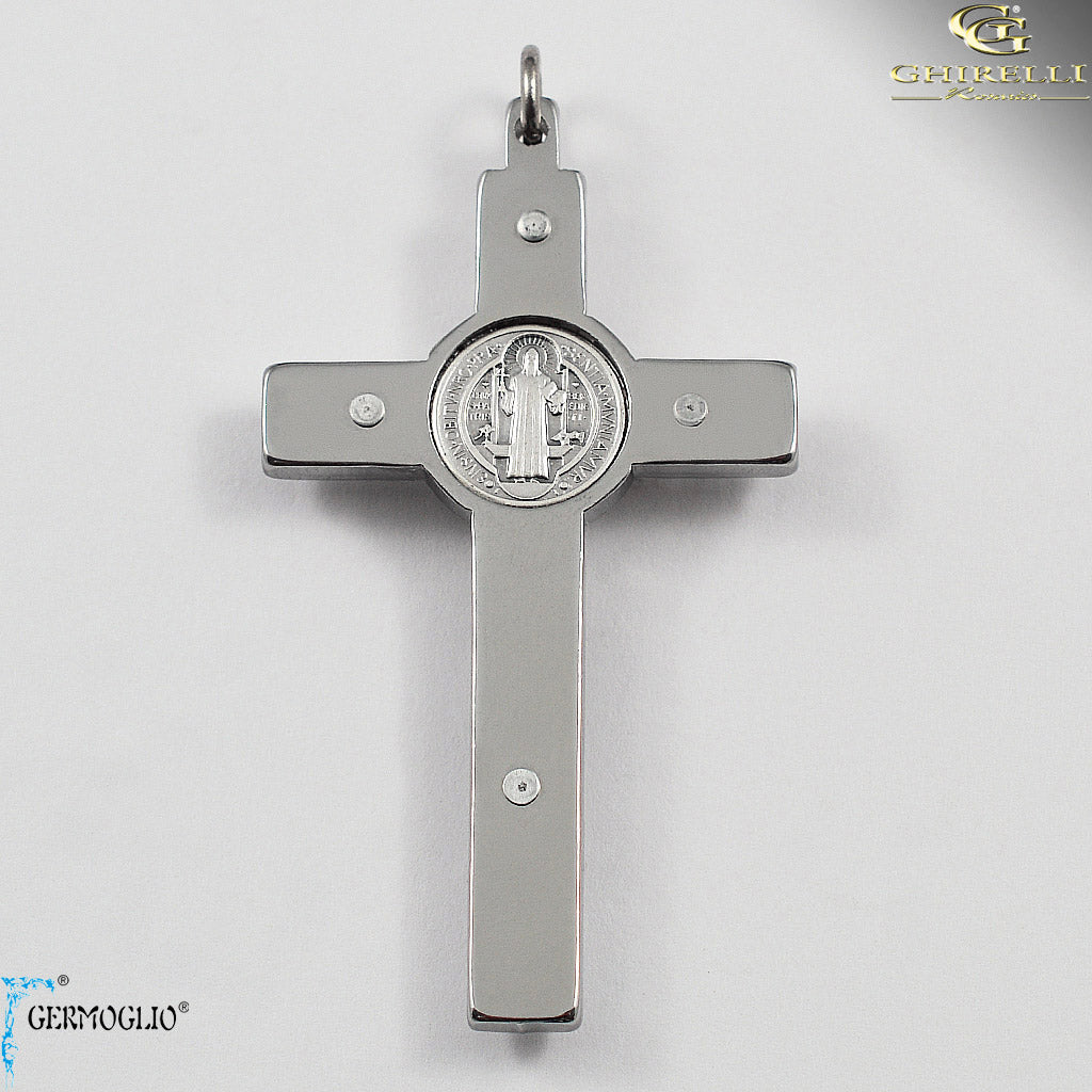 Saint Benedict Crucifix in Polished Chrome by Germoglio for Ghirelli