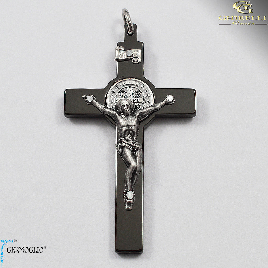 Saint Benedict Crucifix in Polished Gunmetal by Germoglio for Ghirelli