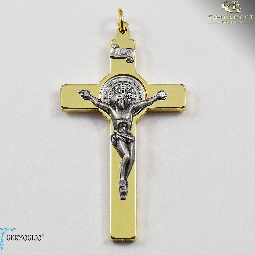 Saint Benedict Crucifix in Polished Gold by Germoglio for Ghirelli