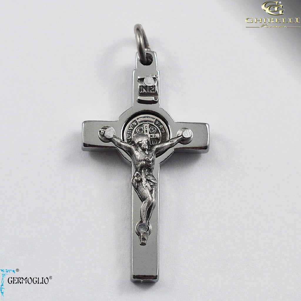 Saint Benedict Crucifix in Polished Chrome by Germoglio for Ghirelli - CR 260 GR