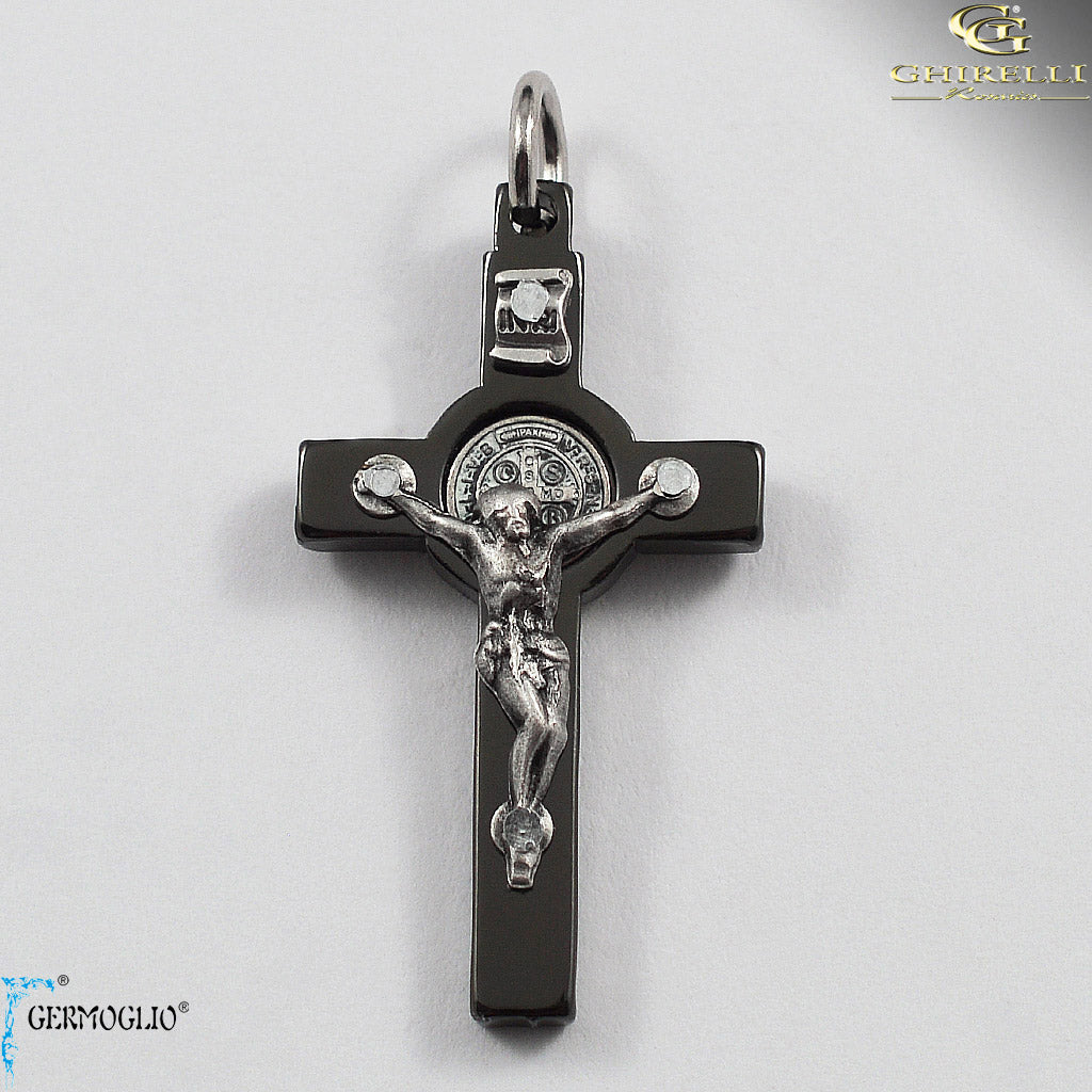 Saint Benedict Crucifix in Polished Gunmetal by Germoglio for Ghirelli - CR 261 GR