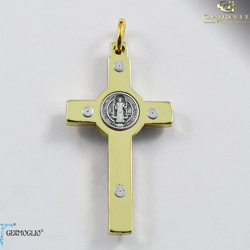 Saint Benedict Crucifix in Polished Gold by Germoglio for Ghirelli - CR 262 GR