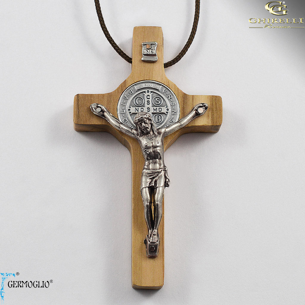 Saint Benedict Crucifix Pendant in Italian Olivewood by Germoglio for Ghirelli