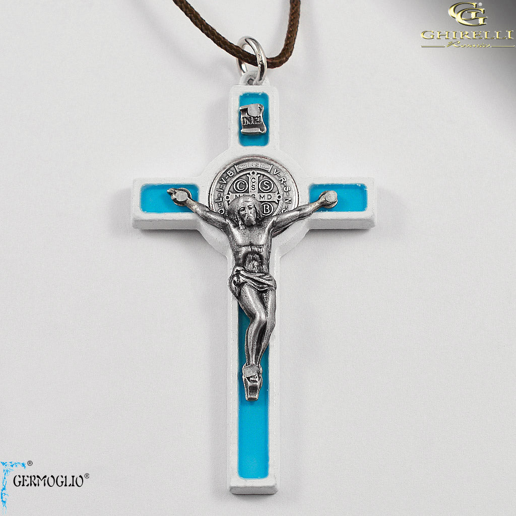 Saint Benedict Crucifix Pendant Traditional Style by Germoglio for Ghirelli - CR 264 GR