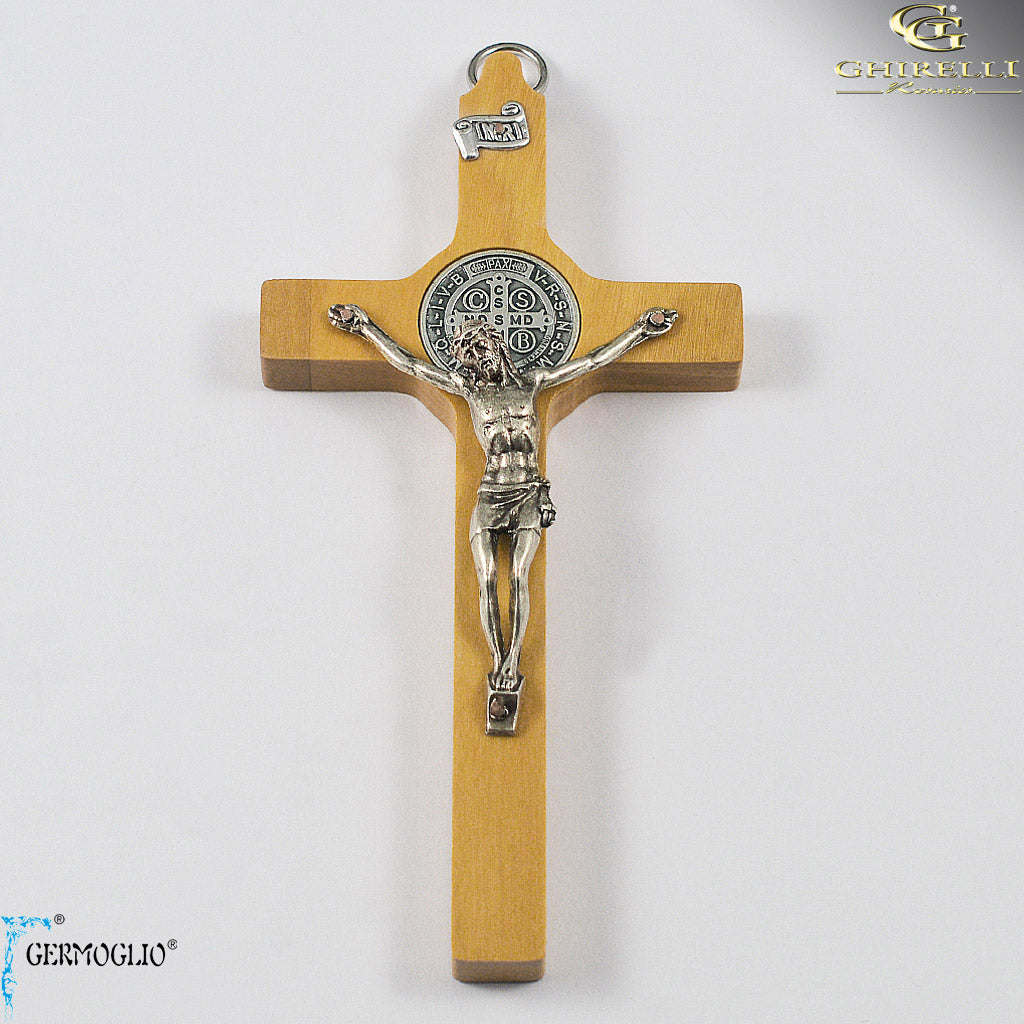 Saint Benedict Crucifix Wall Cross in Italian Olivewood by Germoglio for Ghirelli