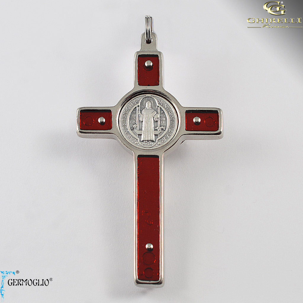 Saint Benedict Crucifix in Silver Plated Finish and Red Enamel by Germoglio for Ghirelli