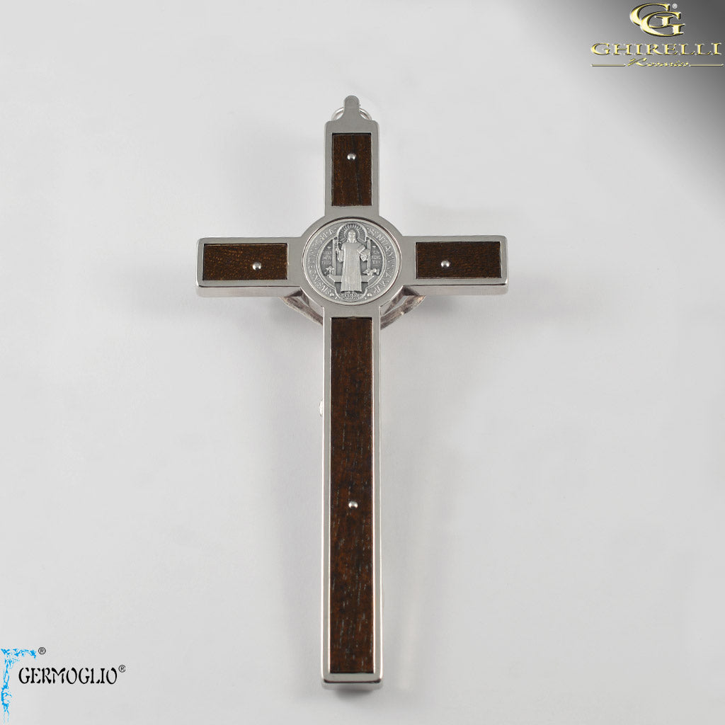 Saint Benedict Crucifix Wall Cross with wood inserts by Germoglio for Ghirelli