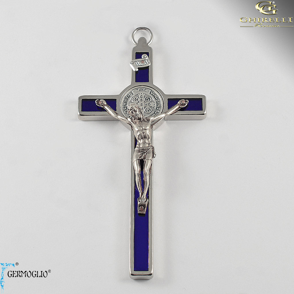Saint Benedict Crucifix Wall Cross in blue enamel by Germoglio for Ghirelli