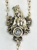 Our Lady of Lourdes with Genuine Lourdes Water in Antique Silver by Ghirelli