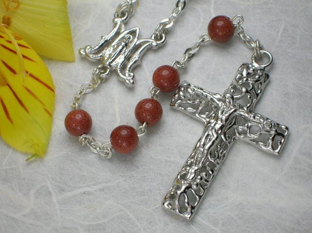Ave Maria Rosary in Sterling Silver with Semi-Precious Gemstones by Ghirelli