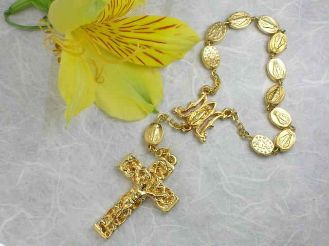 Matteo: Miraculous Medal Decade Rosary - Shiny Gold