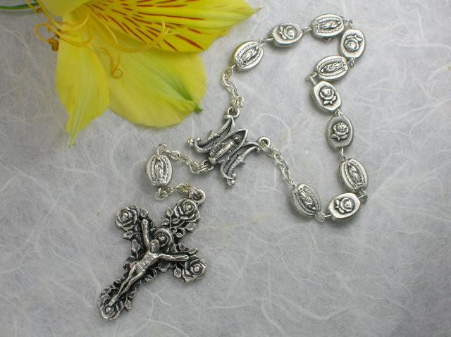 Matteo: Our Lady of Guadalupe Decade Rosary - Antique Silver
