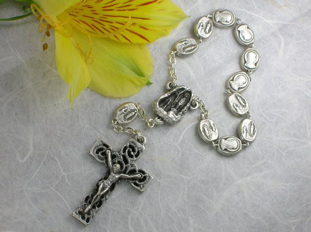 Matteo: Our Lady of Lourdes Decade Rosary - Antique Silver
