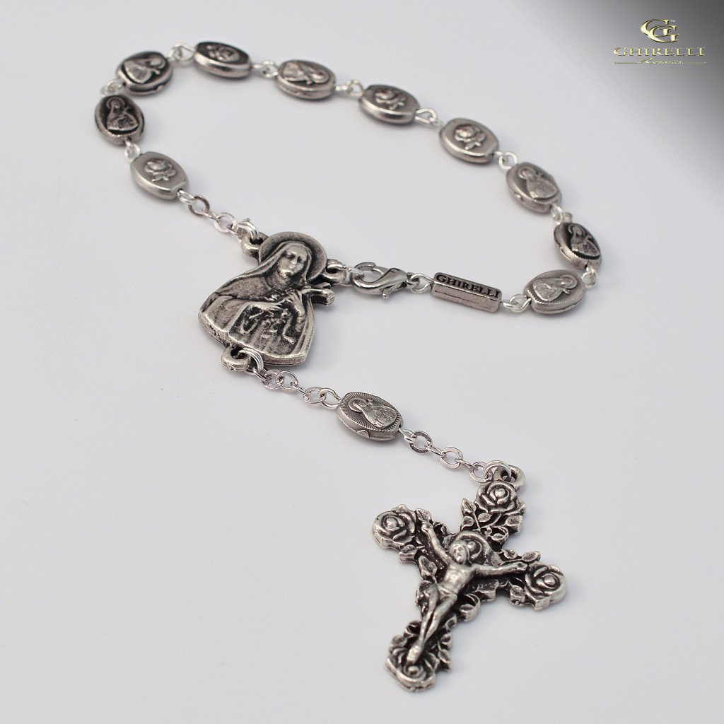 St. Therese of Lisieux Ghirelli silver plated decade Rosary