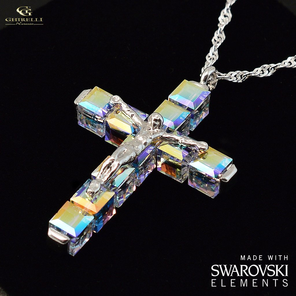 Swarovski (r) Crystal & Sterling Silver Ghirelli Cross Pendant, rhodium plated finish