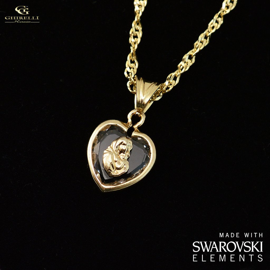 Swarovski (r) Crystal & Sterling Silver Ghirelli Heart Pendant, yellow gold plated finish