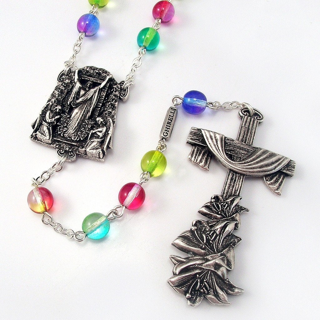 Holy Easter Multicolored Rosary in Antique Silver
