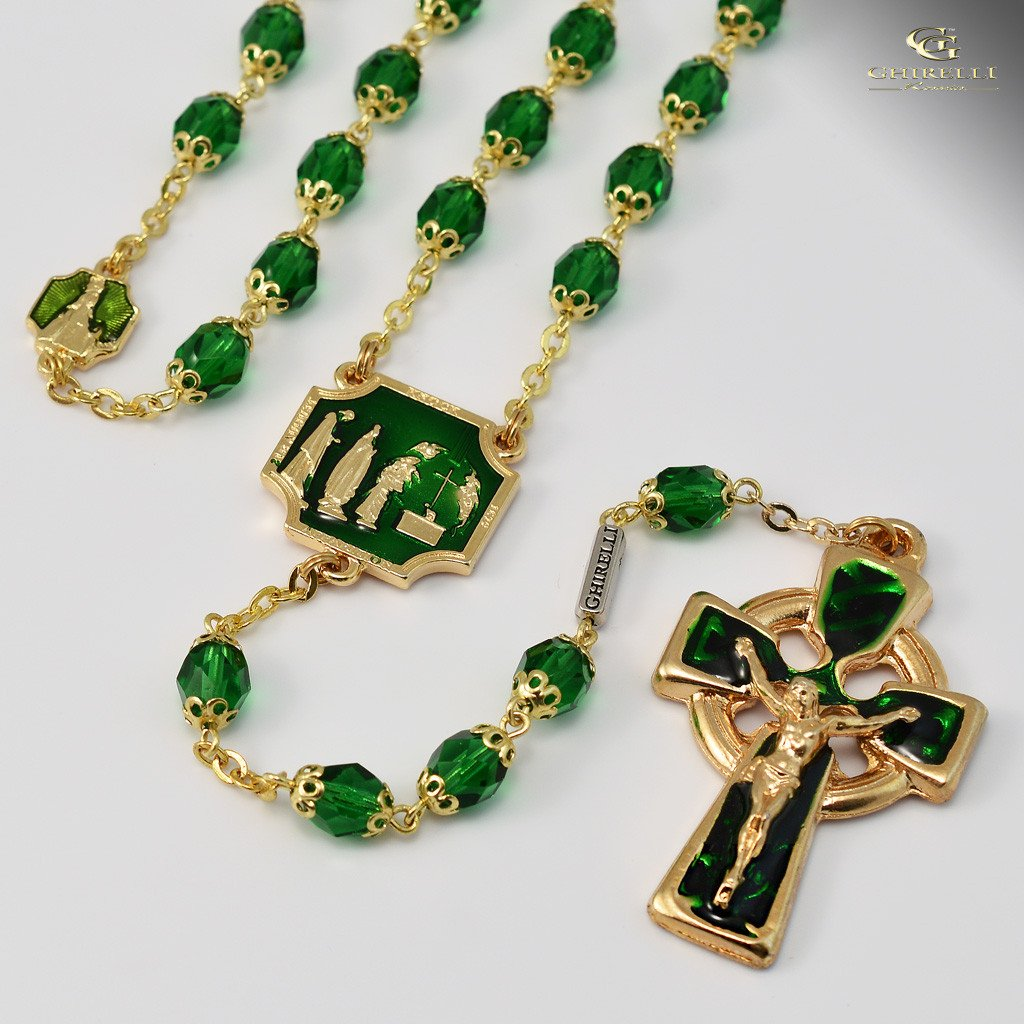 Knock apparition gold plated rosary ghirelli rosaries