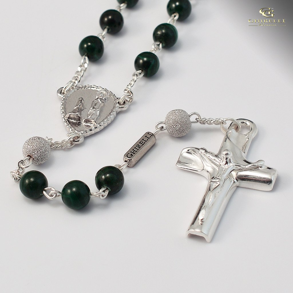 Malachite & Sterling Silver Precious Rosary, rhodium plated finish