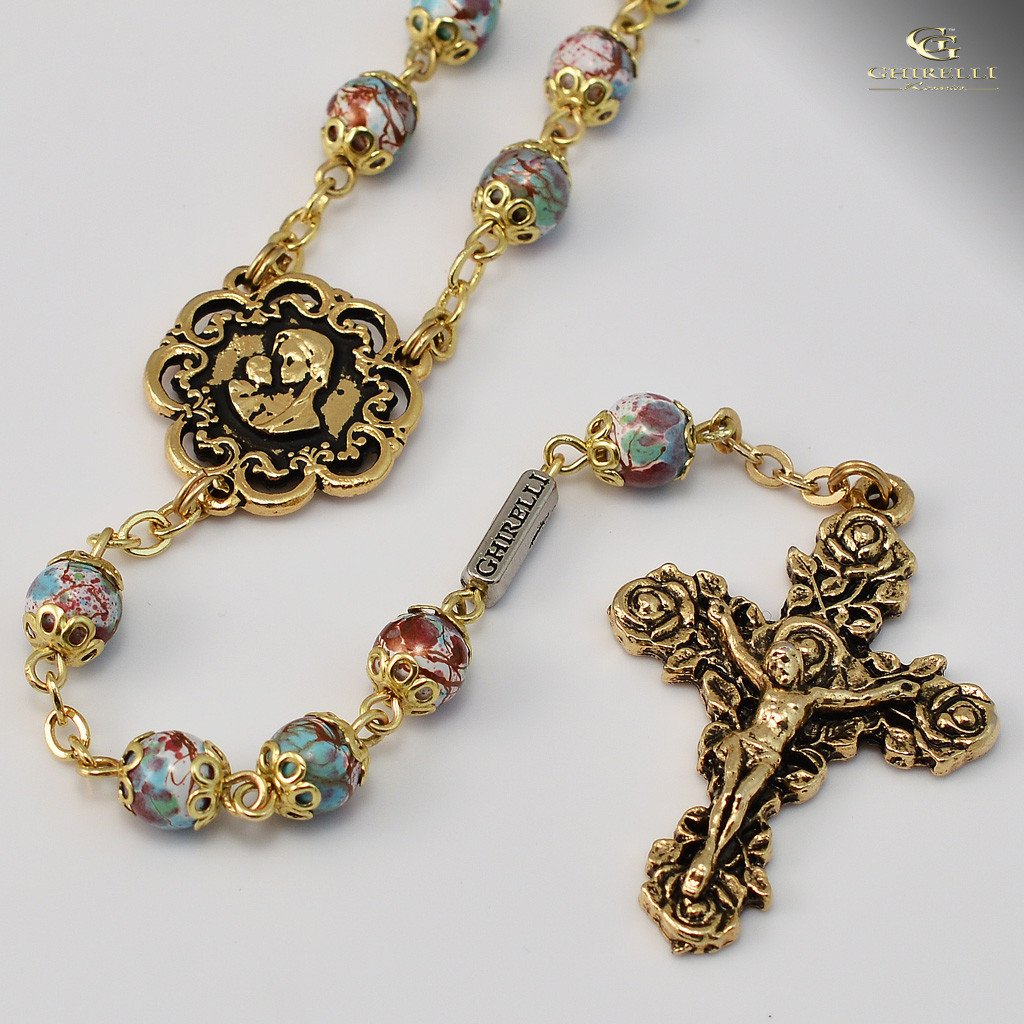 Mary s motherly love collection gold plated rosary