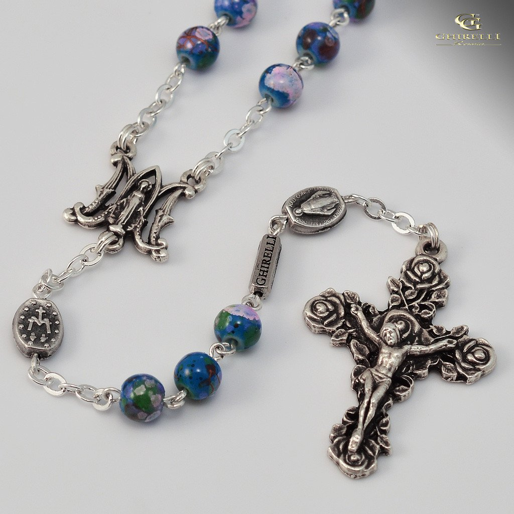 Miraculous Medal silver plated Rosary