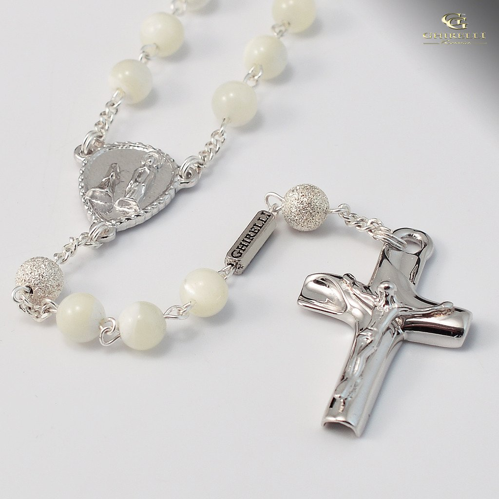 Mother-of-Pearl & Sterling Silver Precious Rosary, rhodium plated finish