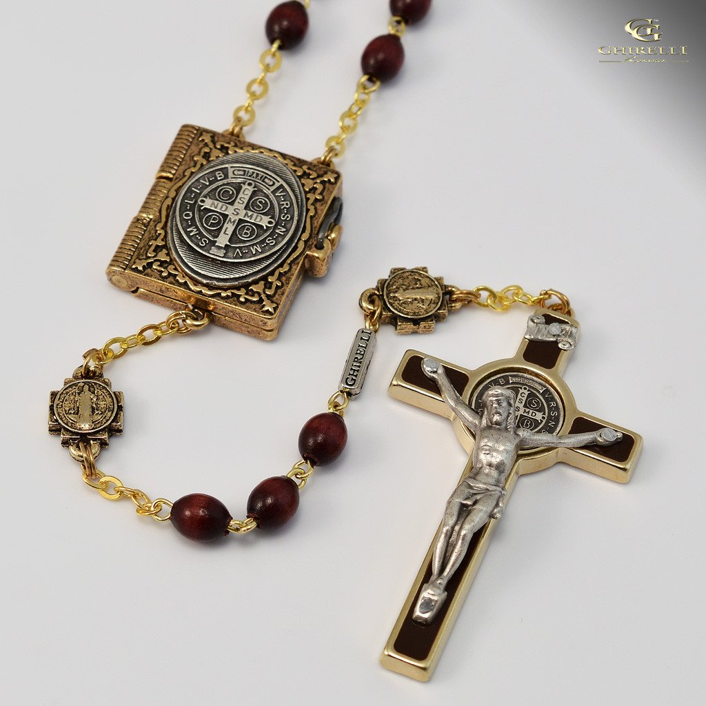 St. Benedict Rosary with Italian Wood Beads in antique gold plated finish