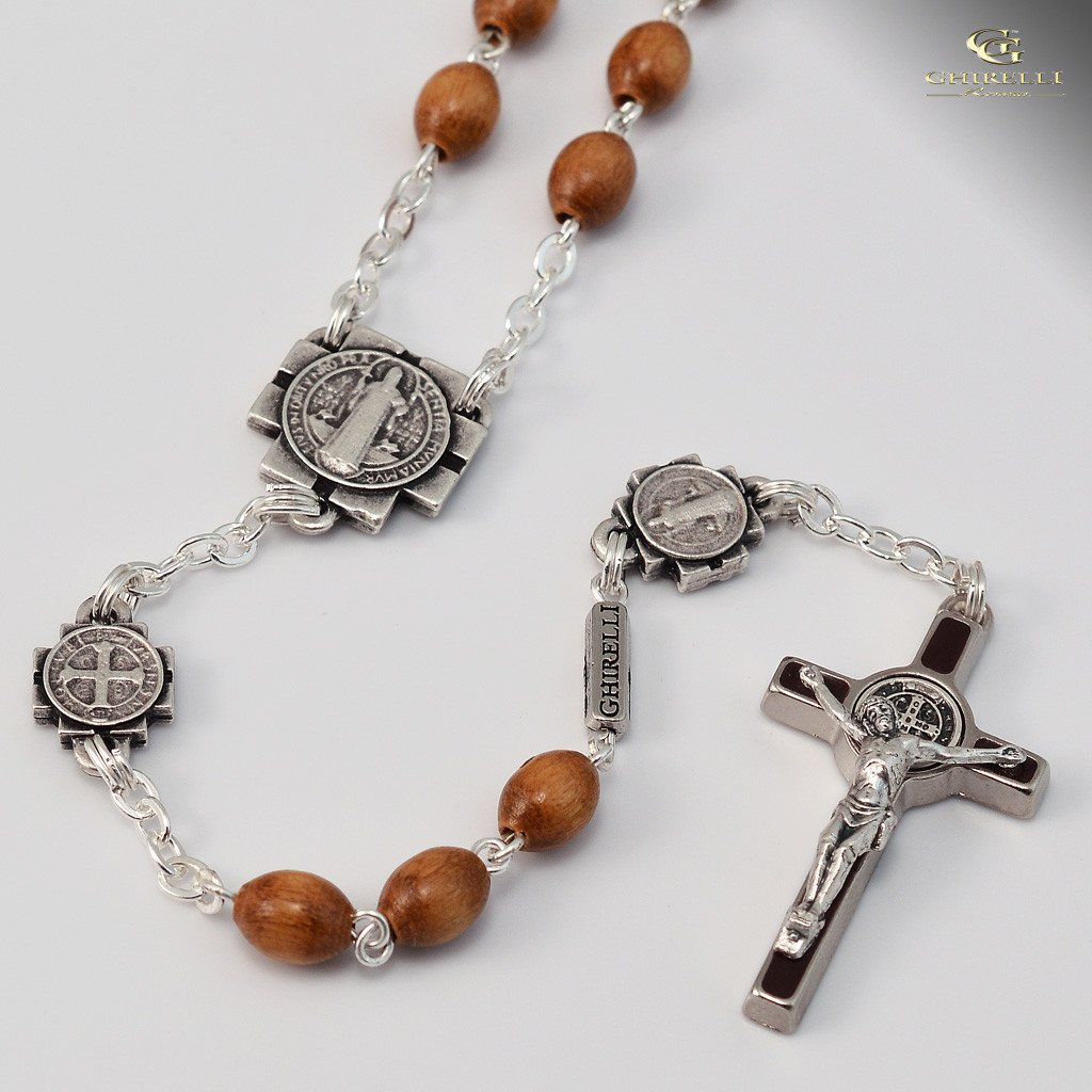 St. Benedict silver plated Rosary