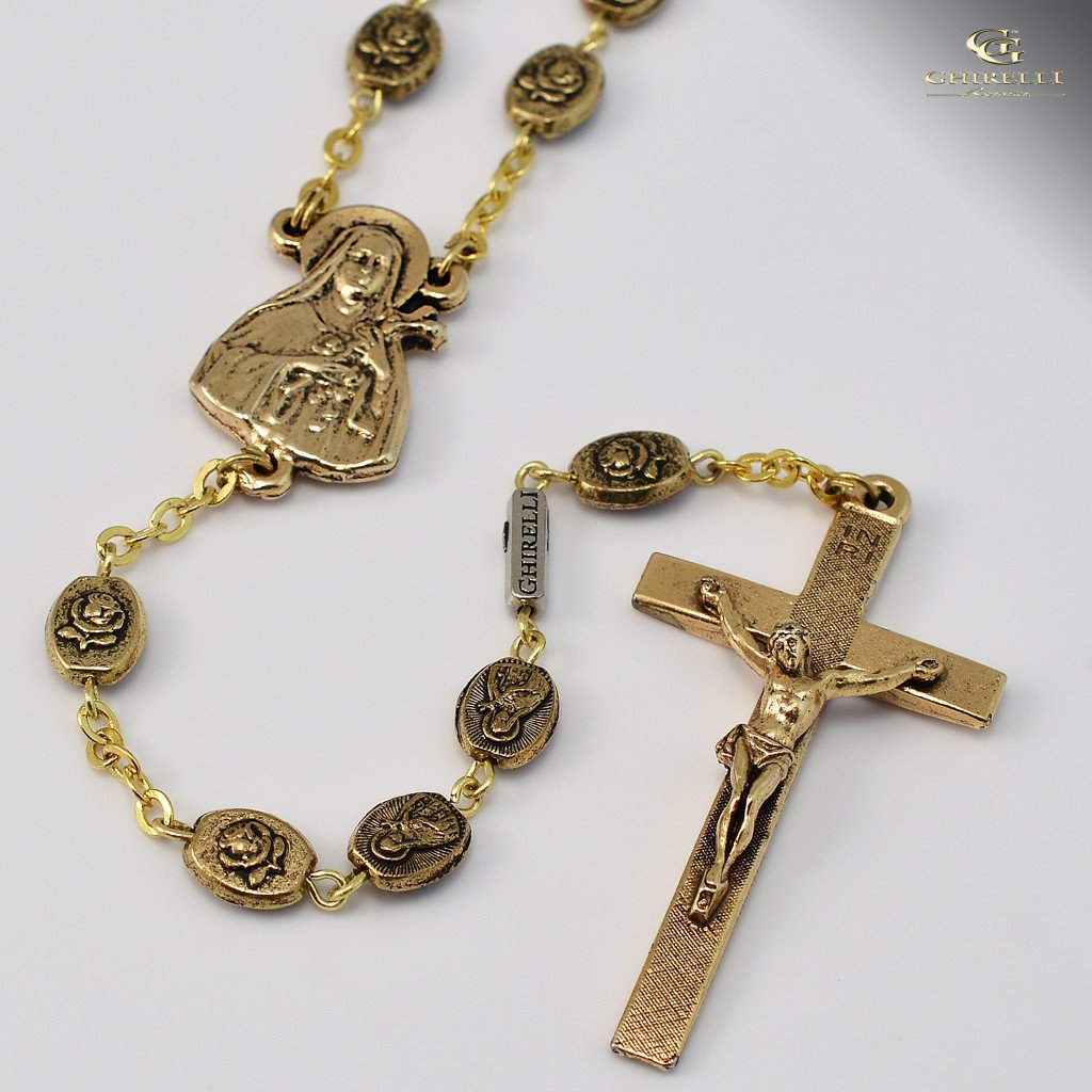 St. Therese of Lisieux gold plated Rosary