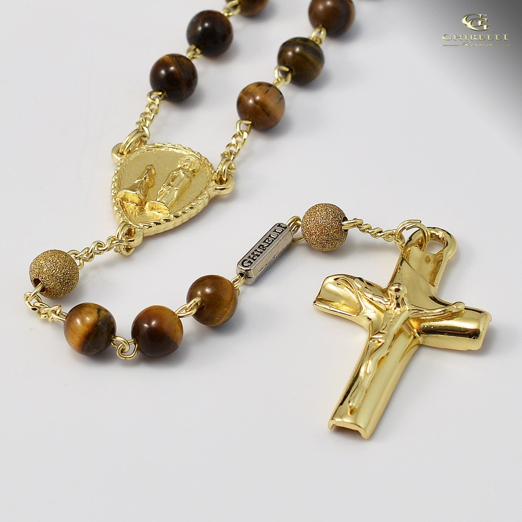 Tiger's Eye & Sterling Silver Precious Rosary, yellow gold plated finish