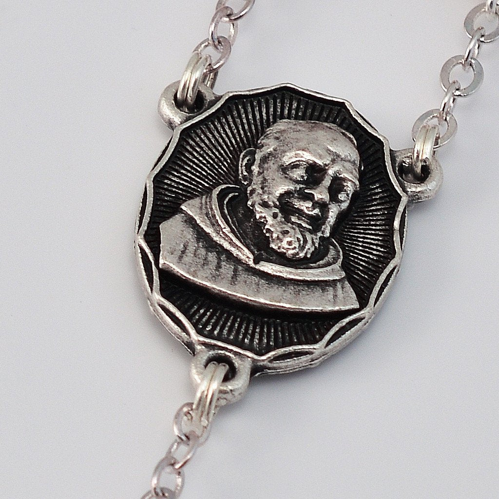 St. Pio of Pietrelcina Special Anniversary Rosary with Pink Pearl Beads