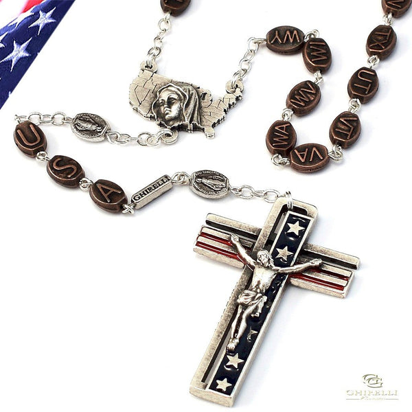 The Usa Rosary In Antique Silver Ghirelli Rosaries